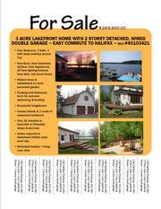 NEW PRICE - 3 Acre Lakefront 4 bdrm house + 2 storey dbl. garage,  commute 2Halifax